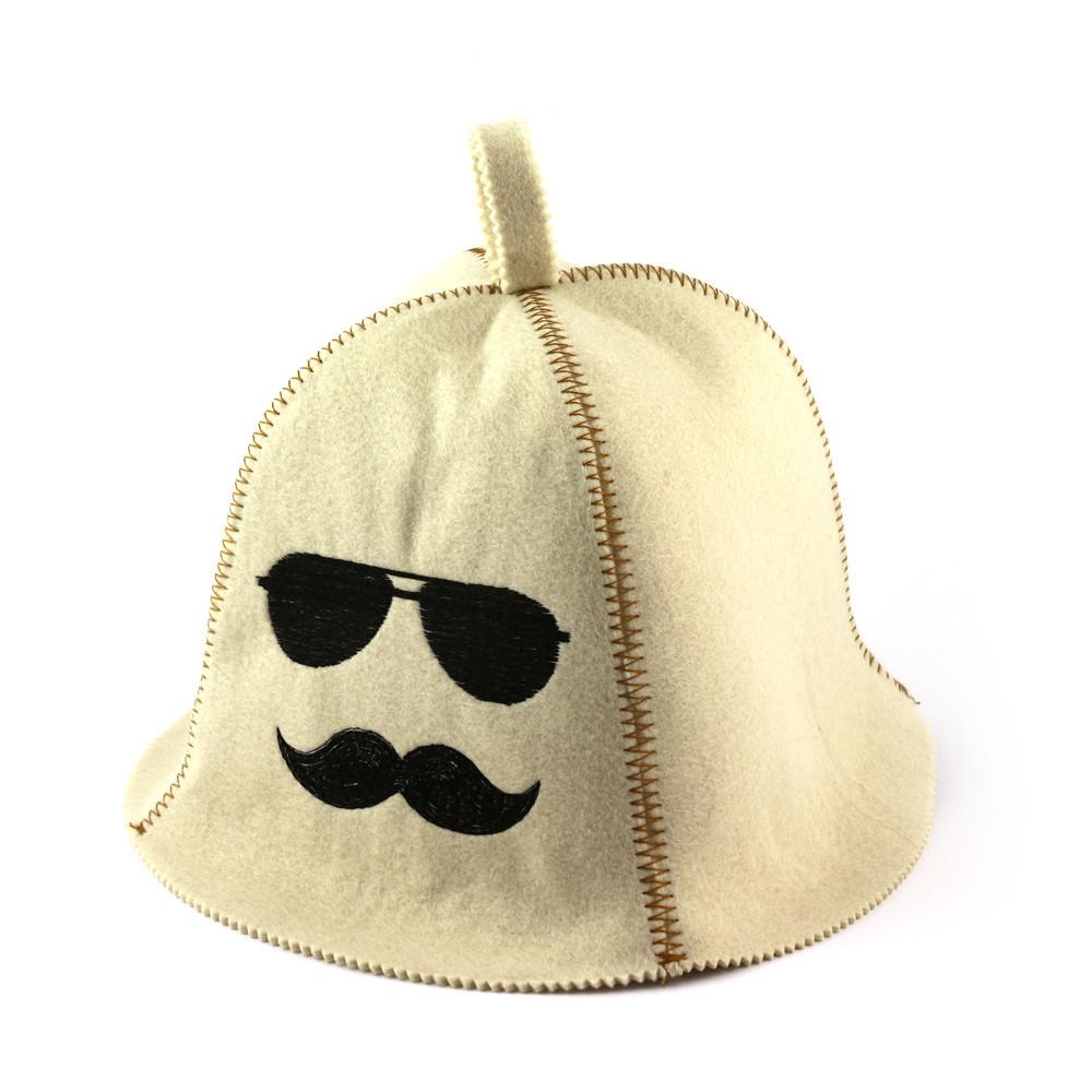"Банная шапка Luxyart ""Хипстер"", искусственный фетр, белый (LA-354)"