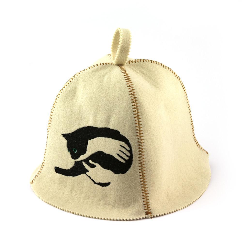 """Банная шапка Luxyart """"Ручная кошка"""", искусственный фетр, белый (LA-355)"""