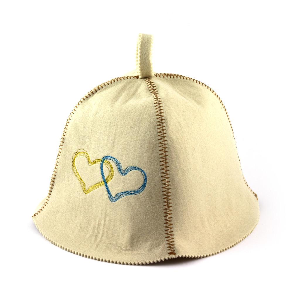 """Банная шапка Luxyart """"Сердца Украины"""", искусственный фетр, белый (LA-370)"""