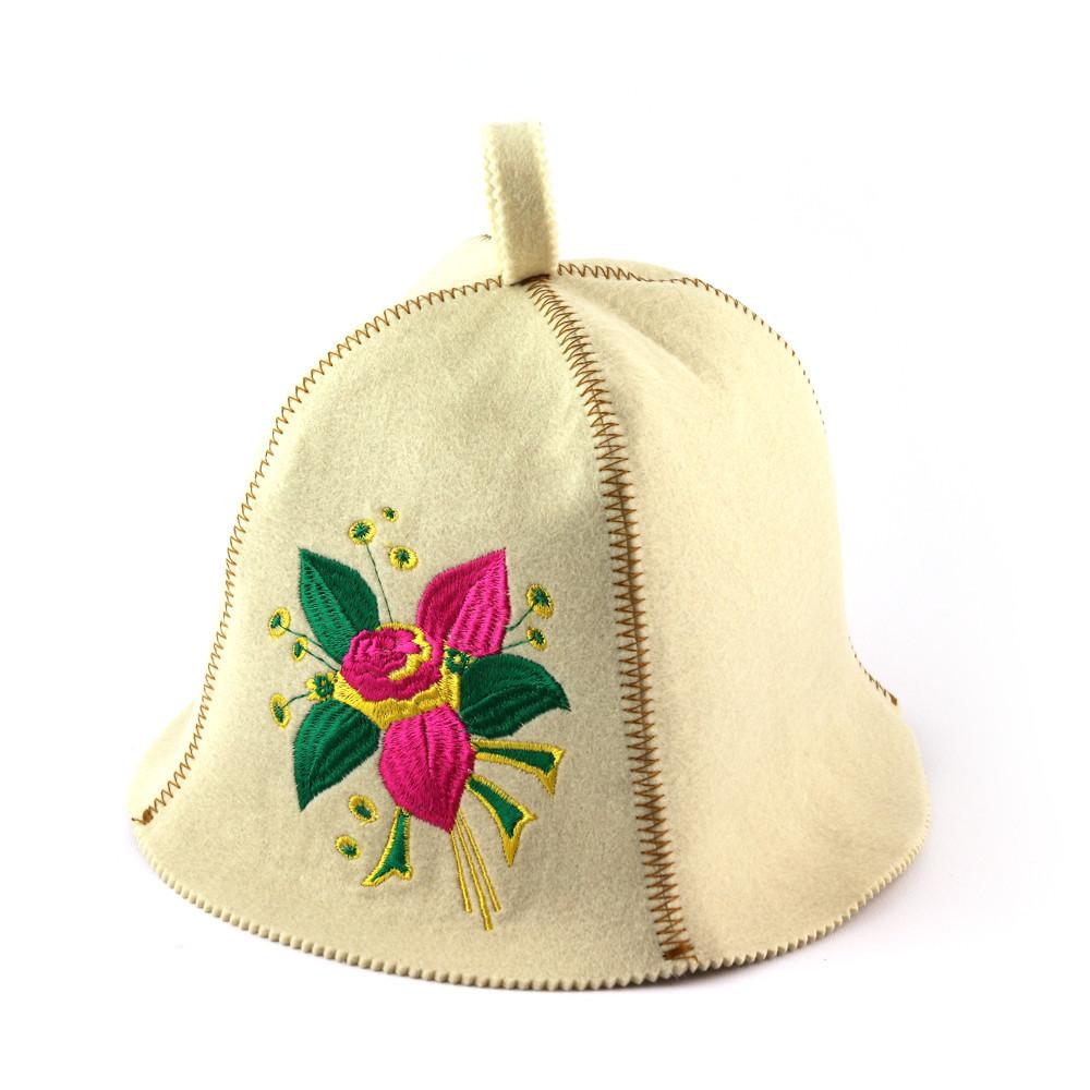 """Банная шапка Luxyart """"Цветок"""", искусственный фетр, белый (LA-406)"""