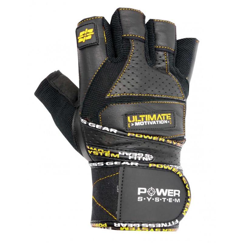 Перчатки для тяжелой атлетики Power System Ultimate Motivation PS-2810 S Black/Yellow