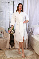 Вафельный халат Luxyart Кимоно, размер женский (46-48) М, 100% хлопок, белый (LS-039)