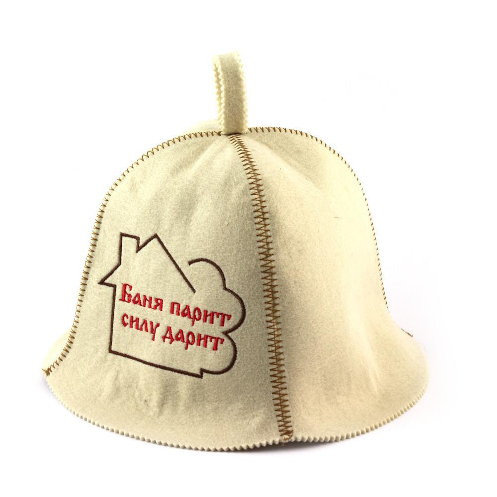 """Банная шапка Luxyart  """"Баня парит силу дарит"""", искусственный фетр, белый (LA-289)"""
