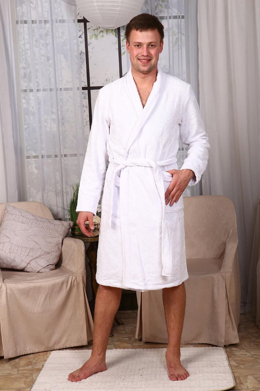 Махровый халат Luxyart, 100% хлопок, 400-420 гр/м2, белый, размер  L (E-2498)