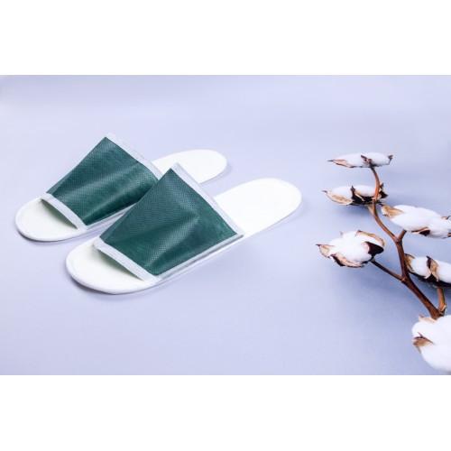 Одноразовые флизелиновые тапочки для отелей, зеленый, в упаковке 100 шт (ZF-0322)