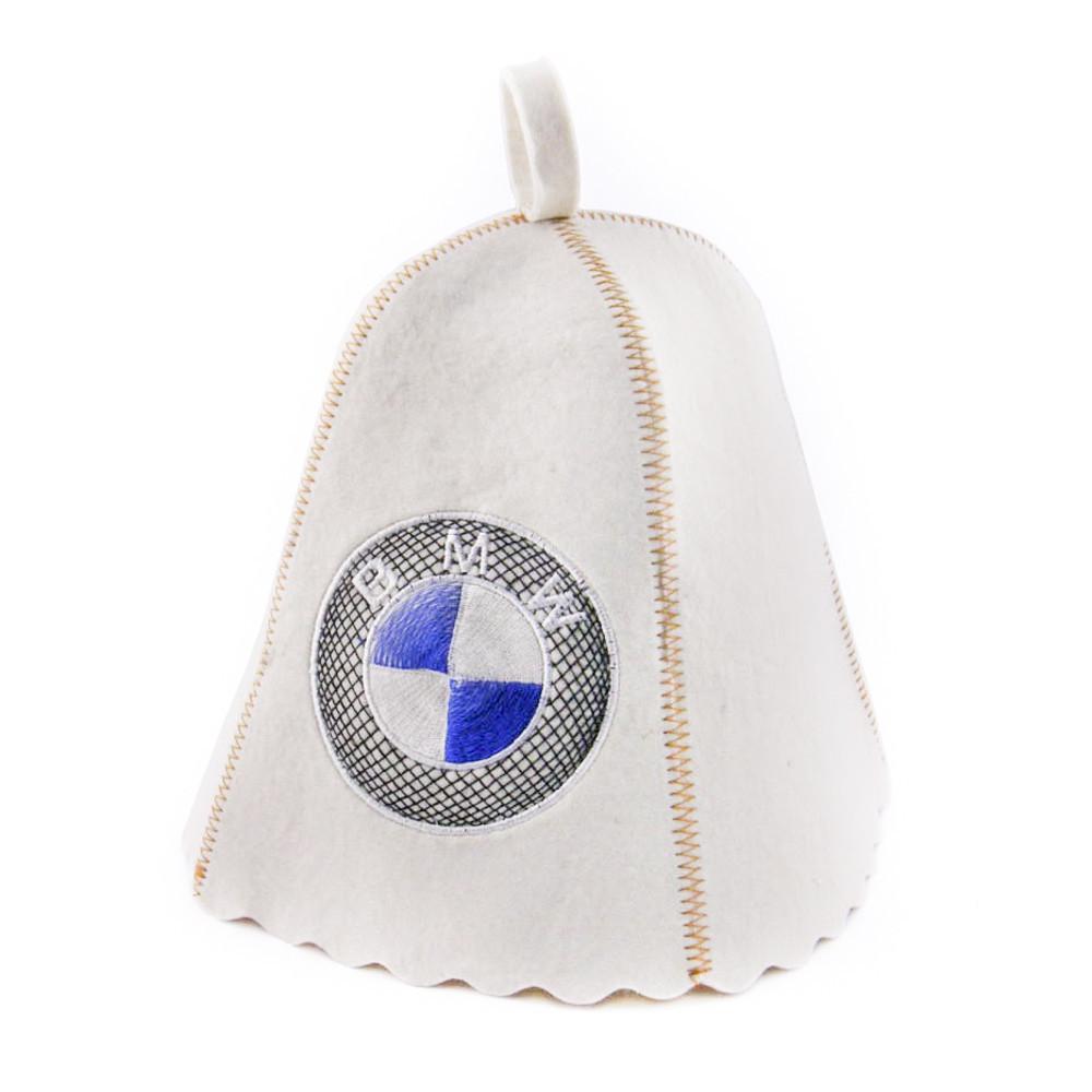 """Банная шапка Luxyart """"BMW"""", натуральный войлок, белый (LA-183)"""