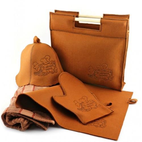 Набор подарочный для баньки Luxyart 5в1, фетровый, коричневый (LT-021)