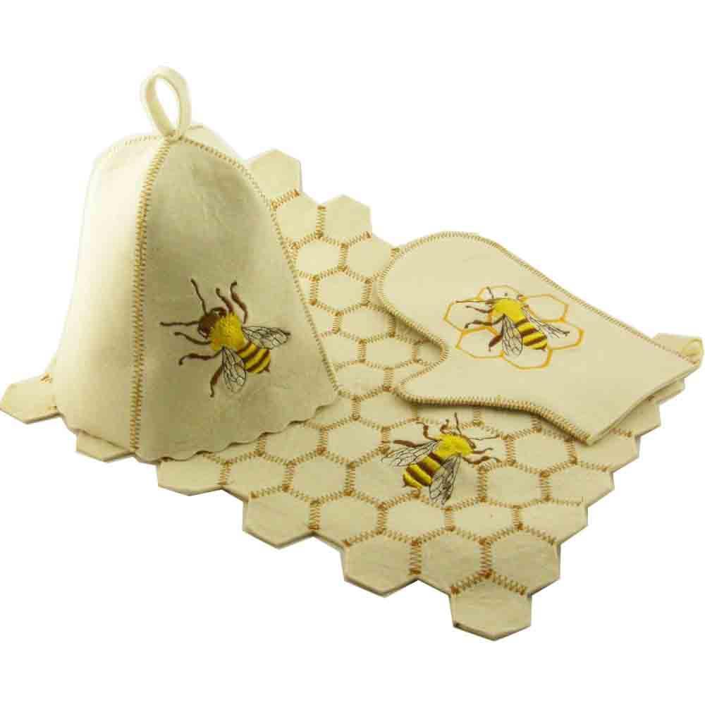 """Набор для бани Luxyart  """"Пчёлка"""" из белого войлока, 3 предмета (A-185)"""
