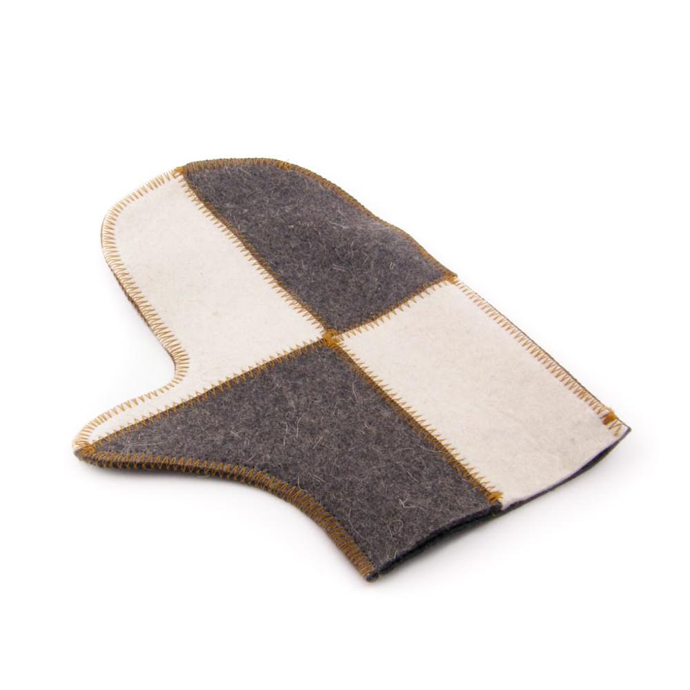 """Банная рукавичка Luxyart """"Клетка"""", натуральный войлок, белая с серым (LA-501)"""