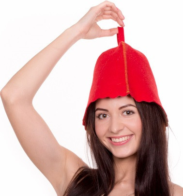 Банная шапка Luxyart, натуральный войлок, красный (LA-996)
