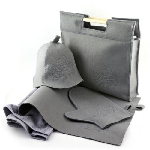 Набор подарочный для баньки Luxyart 6в1, махровый, серый (LT-023)