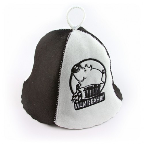 """Банная шапка Luxyart """"Иди в баню"""", искусственный фетр, белый (LТ-037)"""
