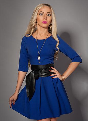 Молодежное платье с кожаным поясом, фото 2