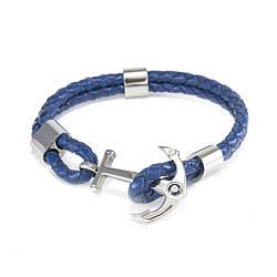 Кожаный браслет Якорь 19.5 см Синий BS061LR, КОД: 974003