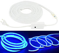 Гибкая неоновая светодиодная лента NEON LED (120 светодиодов/метр) SMD 3528 IP65 220V Синий