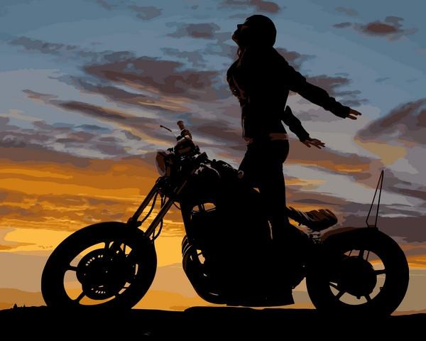 Картины по номерам 40×50 см. Девушка на мотоцикле (Полет души)