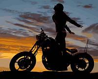 Картины по номерам 40×50 см. Девушка на мотоцикле (Полет души), фото 1