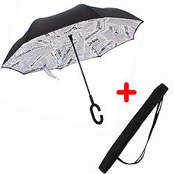 Зонт обратного сложения Up-brella Белая газета 2d-74, КОД: 1193098