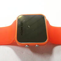 Часы LED зеркальные оранжевые