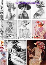 """Декупажна карта """"Леді в капелюшках і мереживах .Ретро(кольорові та чорно-білі)"""""""