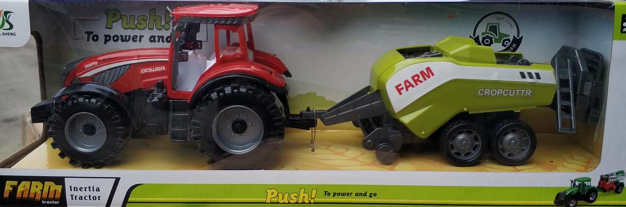 Детский игрушечный трактор с прицепом игрушка красный Farm Cropcuttr 44 см.