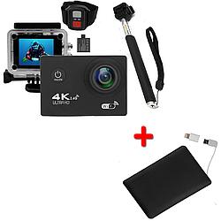 Экшн-камера 2day B5R с моноподом и пультом Black + УМБ 2Life Power Bank 2500 mAh Black 2d-363, КОД: 1297781