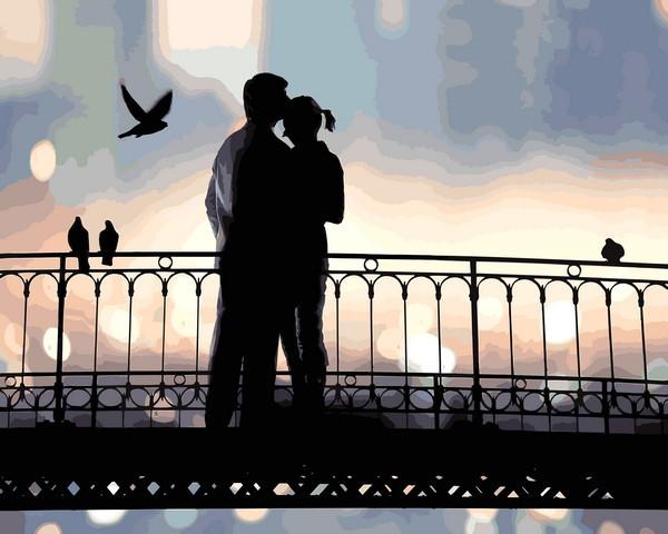 Картины по номерам 40×50 см. Влюбленная пара на мосту