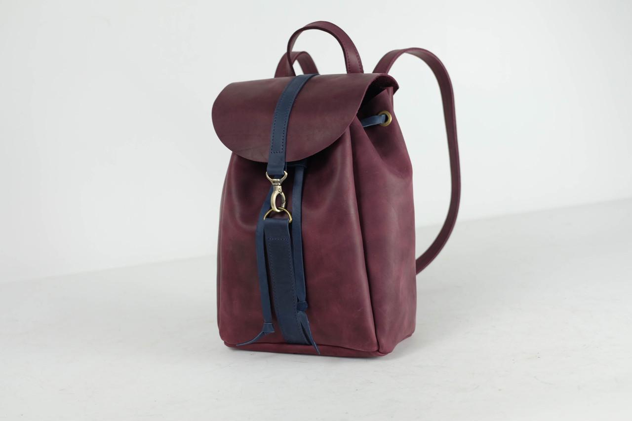 Кожаный рюкзак на затяжках с карабином, размер мини Винтажная кожа цвет Бордо + Синий