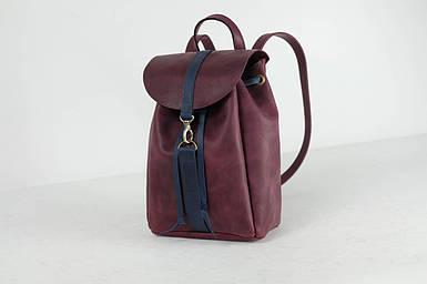 Жіночий шкіряний рюкзак Київ, розмір міні, натуральна Вінтажна шкіра колір Бордо + Синий