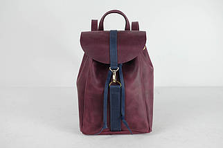 Кожаный рюкзак на затяжках с карабином, размер мини Винтажная кожа цвет Бордо + Синий, фото 3