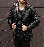ЛЮКС! Куртка кожаная мужская зимняя на меху до -25°С X - black| куртка мужская зимняя
