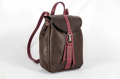Жіночий шкіряний рюкзак Київ, розмір міні, натуральна Вінтажна шкіра колір коричневый, оттенок Шоколад + Бордо