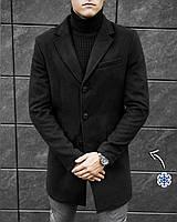 ЛЮКС! Мужское зимнее пальто кашемировое до - 30*С X - black