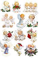 Фетр с рисунком Ангелочки Рождество, 1 мм, А4