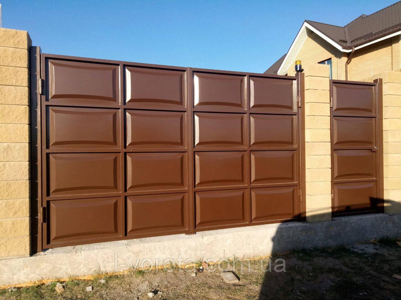 Автоматические распашные ворота ш4000, в2000 и калитка ш1000, в2000 (дизайн филенка, шоколадка линза)