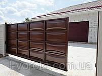 Автоматические откатные ворота ш5000, в2000 (дизайн филенка, шоколадка - линза), фото 2
