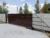 Автоматические откатные ворота ш5000, в2000 (дизайн филенка, шоколадка - линза), фото 4