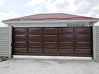 Автоматические откатные ворота ш5000, в2000 (дизайн филенка, шоколадка - линза)