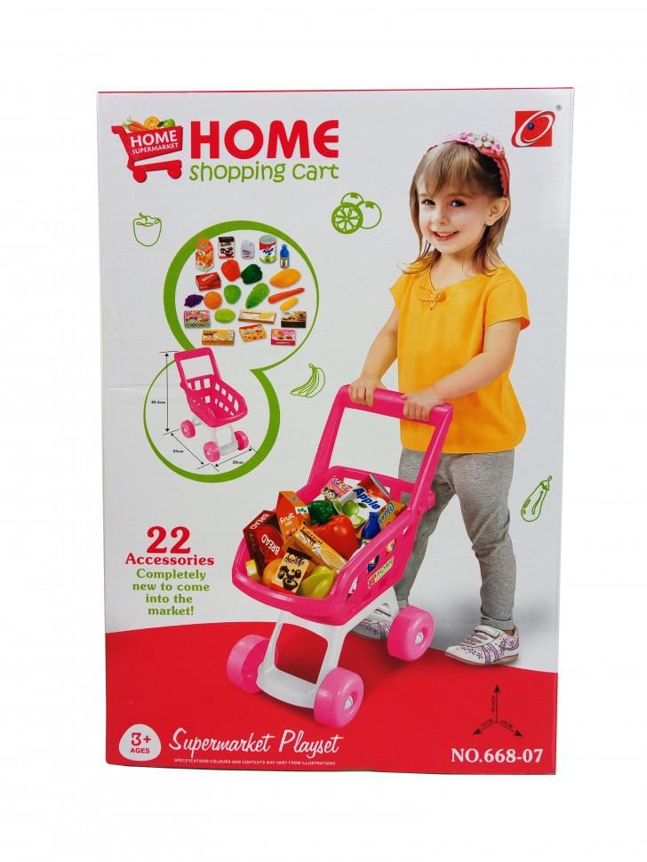 Тележка  668-06-07 Супермаркет (Розовая)