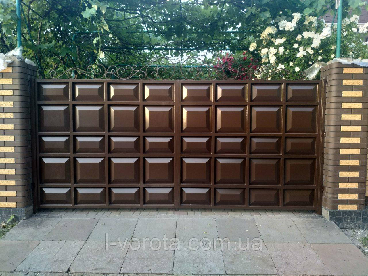 Ворота распашные ш4000, в2000 (дизайн шоколадка, филенка узкое поле)