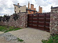 Ворота сдвижные ш4000, в2000 (дизайн филенка, шоколадка - линза), фото 2
