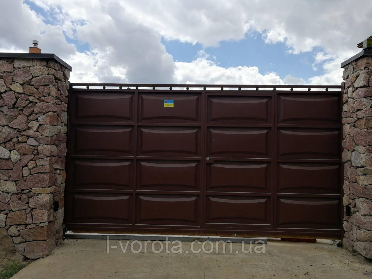 Ворота сдвижные ш4000, в2000 (дизайн филенка, шоколадка - линза)