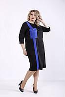 ❤/ Женское черное платье с синей вставкой 01346 / Размер 42-72 / Батал