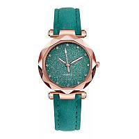 Часы женские Lecopike наручные кварцевые с зелёным ремешком.