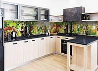 Кухонный фартук Вино (наклейки для стеновых панелей, виноград лоза бутылки, пленка для кухни) 600*2500 мм