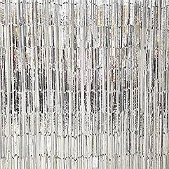 Шторка завісу з фольги для фотозоны срібло глянець 2 х 1 метр