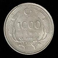 Монета Турции 1000 лир 1994 г., фото 1