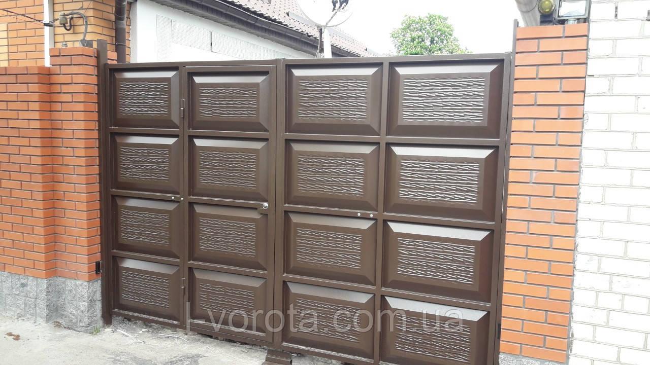Автоматические распашные ворота со встроенной калиткой ш3200, в2000 (дизайн шоколадка, с эффектом жатки)