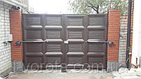 Автоматические распашные ворота со встроенной калиткой ш3200, в2000 (дизайн шоколадка, с эффектом жатки), фото 3