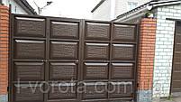 Автоматические распашные ворота со встроенной калиткой ш3200, в2000 (дизайн шоколадка, с эффектом жатки), фото 2